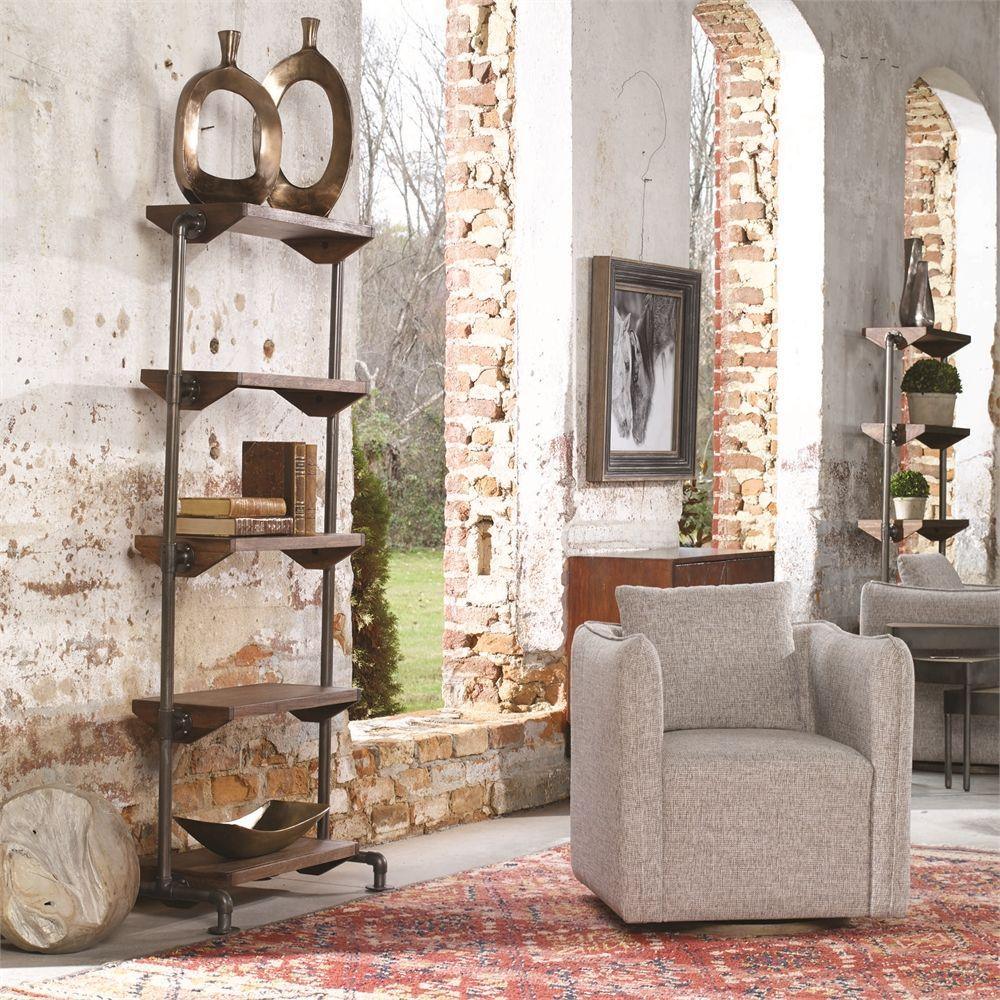 Uttermost Rhordyn Industrial Etagere Swivel Chair