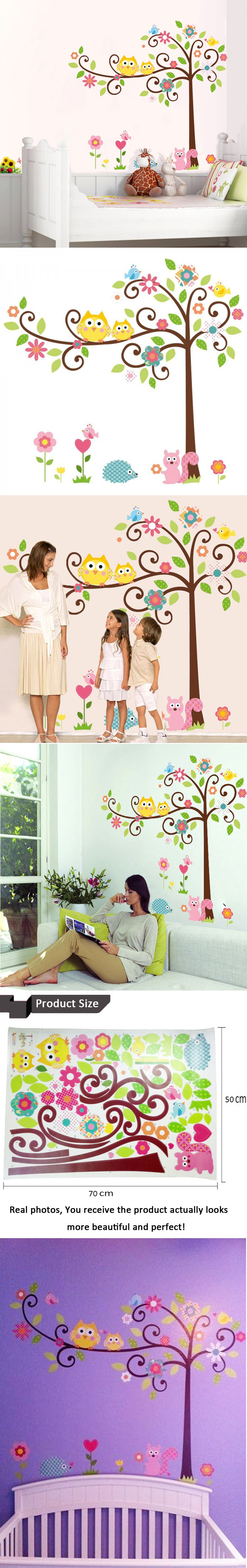 High Quality Cute Owl Tree Wall Sticker New Cartoon Animal Wall Decal For  Nursery Kids Room Home Decoration 120*110cm