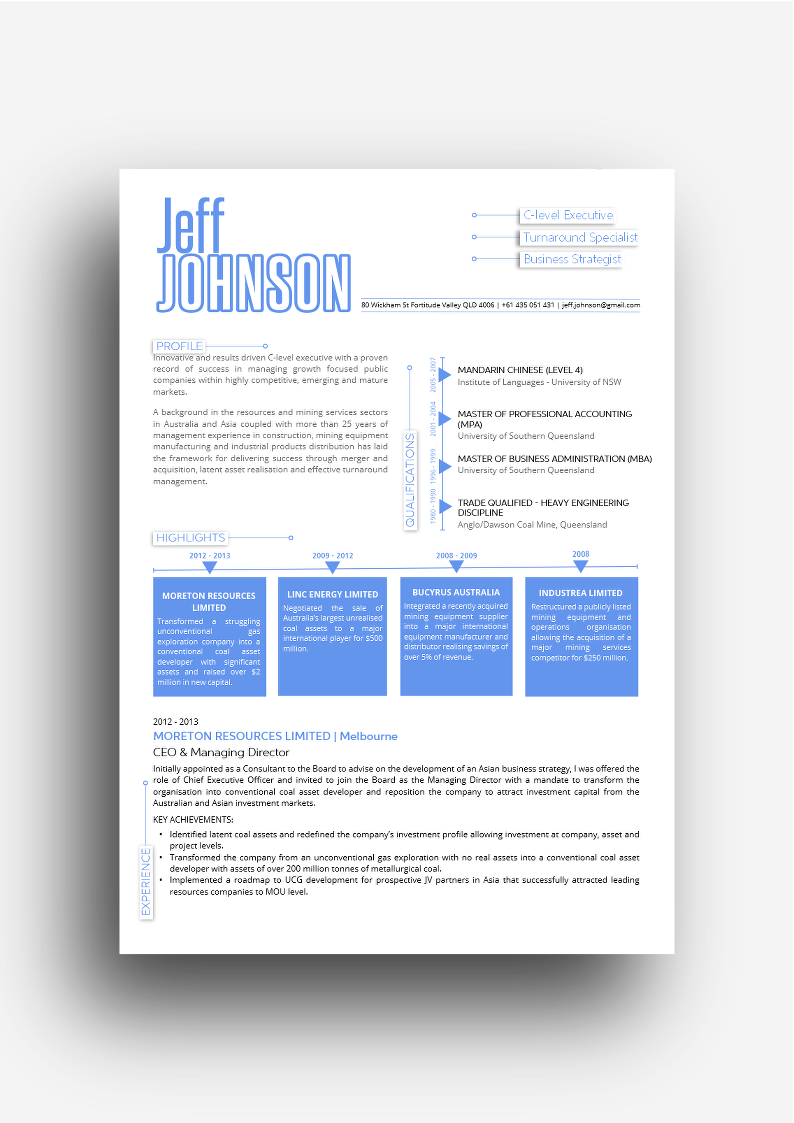 The London Resume Design In Blue  Design