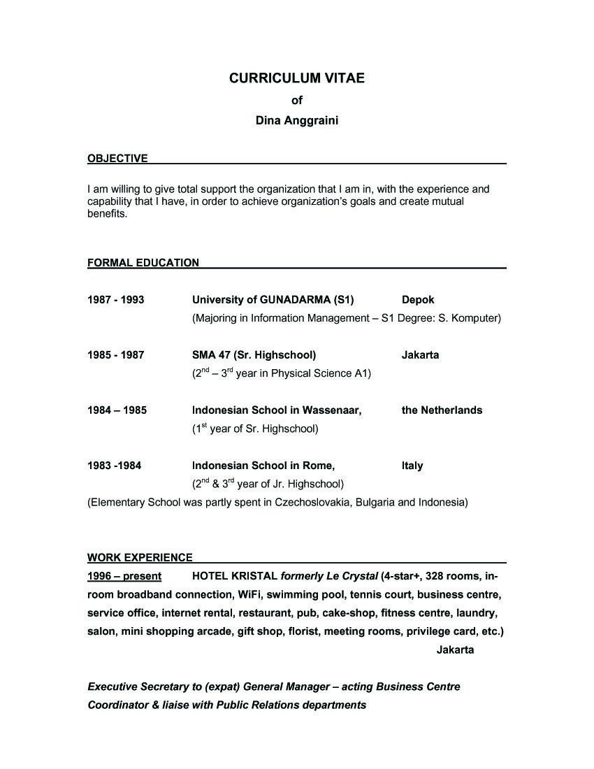 Objective of resume examples