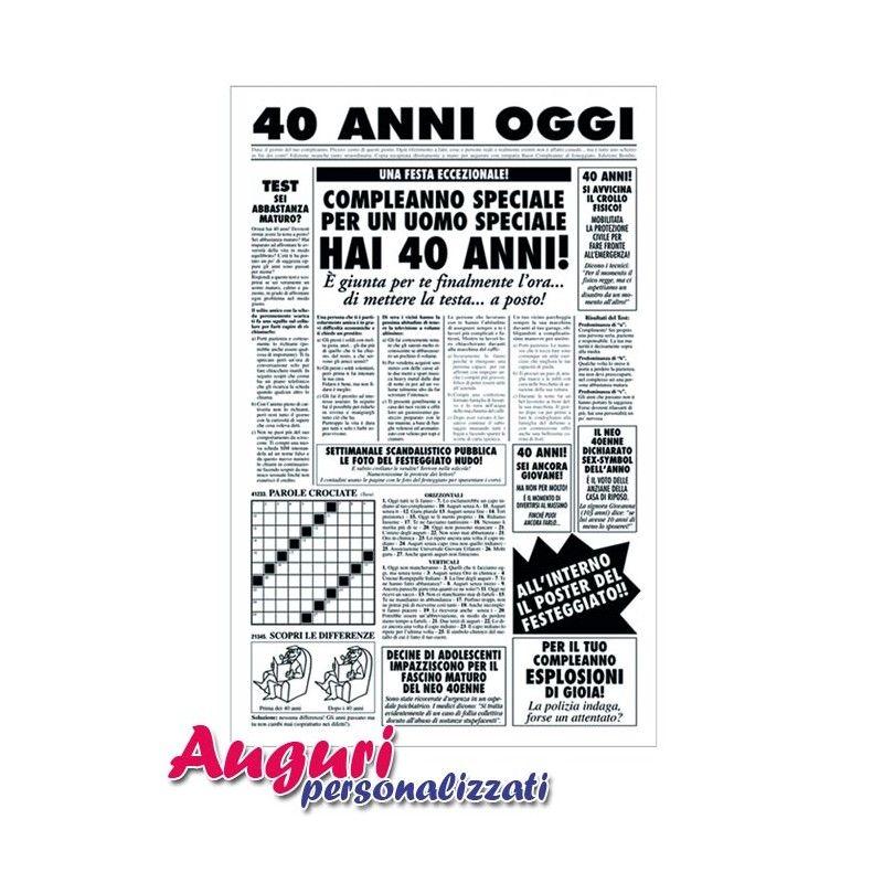 Biglietto Auguri Giornale Compleanno 40 Anni Amico Auguri