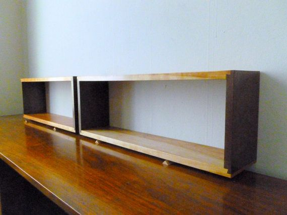 Single Simple Elegant Walnut And Cherry Dovetail Floating Wall Bo Box Shelves Shelf Finely Finished Ready To Hang Mid Century Style