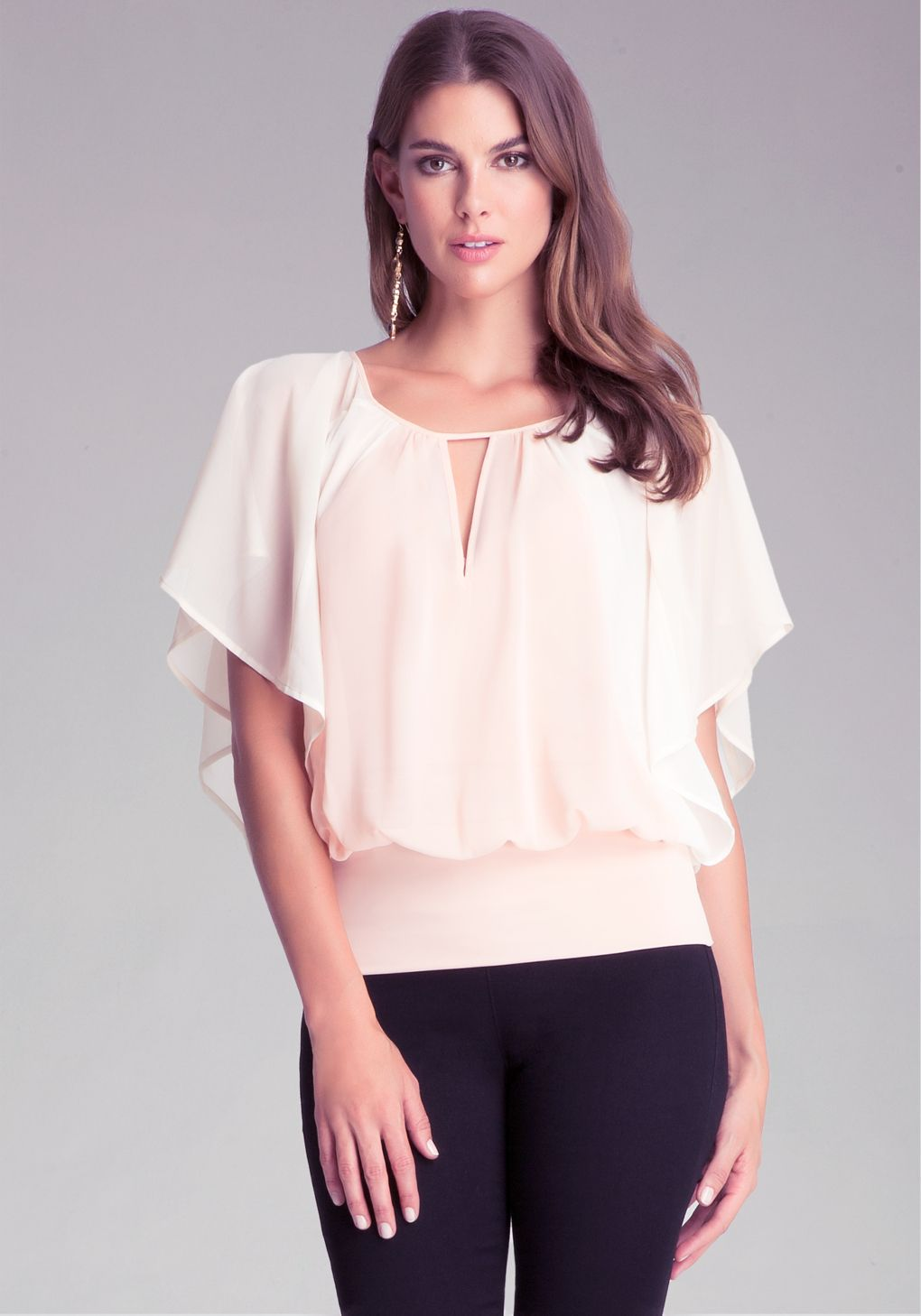f5c80e9840 Bebe Full Sleeve Top in Pink   Lyst   Tops   Tops, Ruffle blouse, Bebe