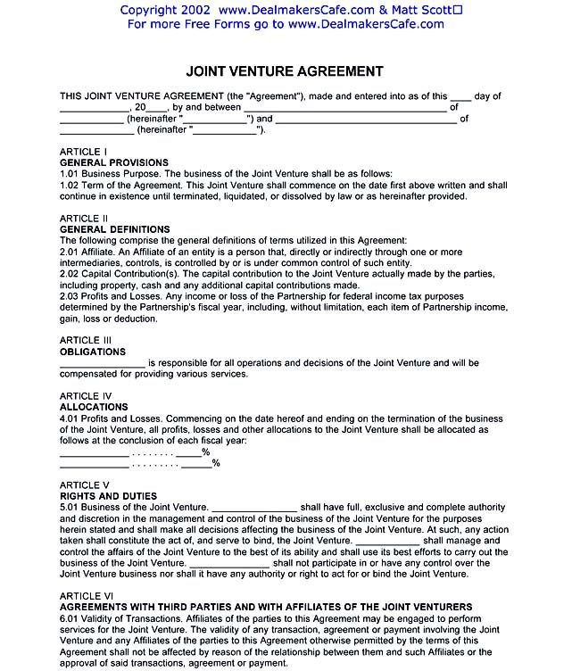 JOINT VENTURE AGREEMENTPDF , Joint Venture Agreement Template - free joint venture agreement template