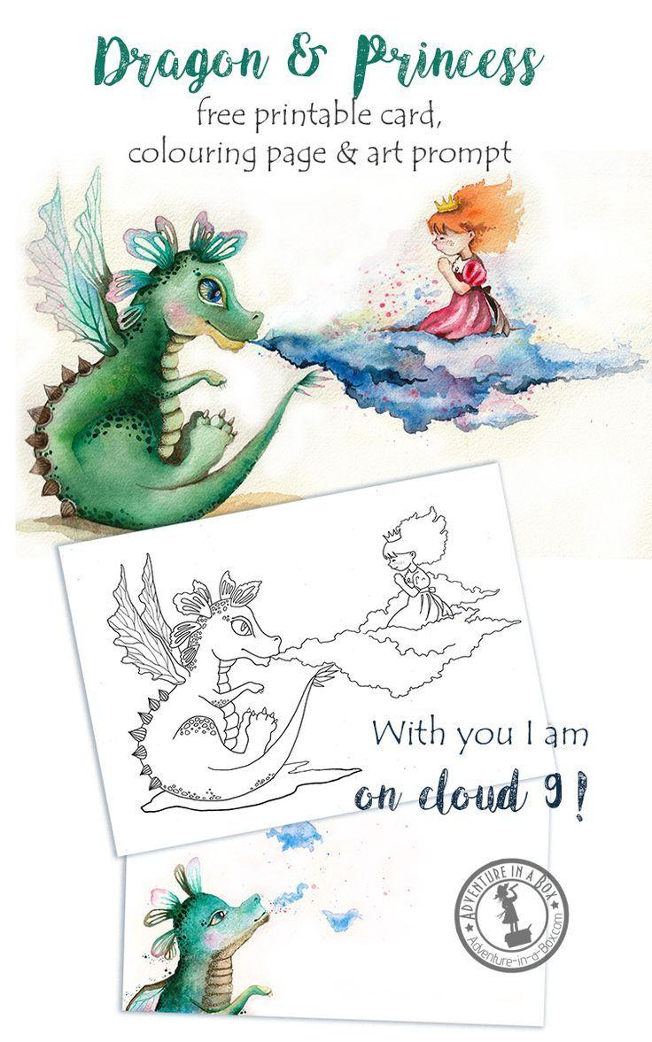 Dragon & Princess: Free Printable Card, Colouring Page and Drawing ...