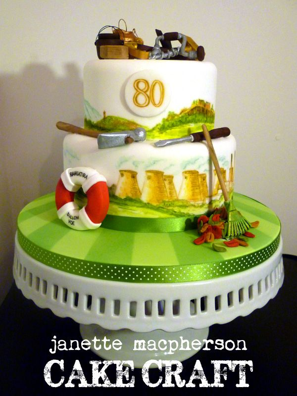 80th Birthday cake themed on personal interests and life history - personal interests