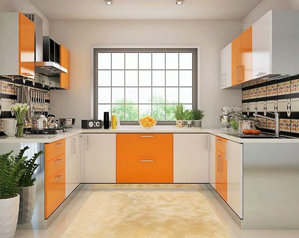U Shaped Kitchen With Orange And White Cabinets And Large Window