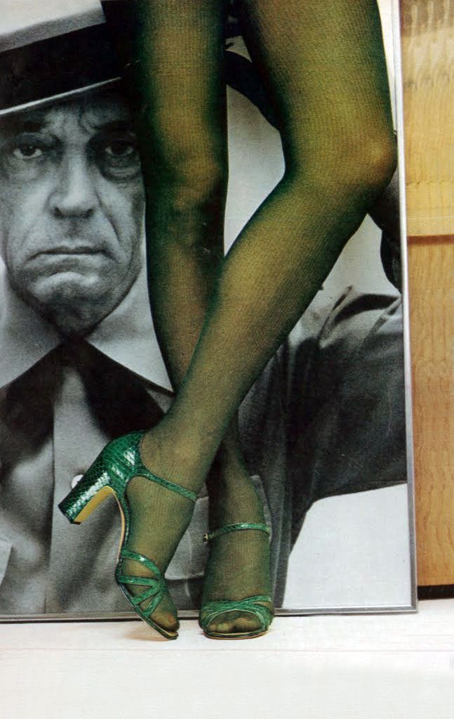 1970s green snakeskin heels and Buster Keaton!