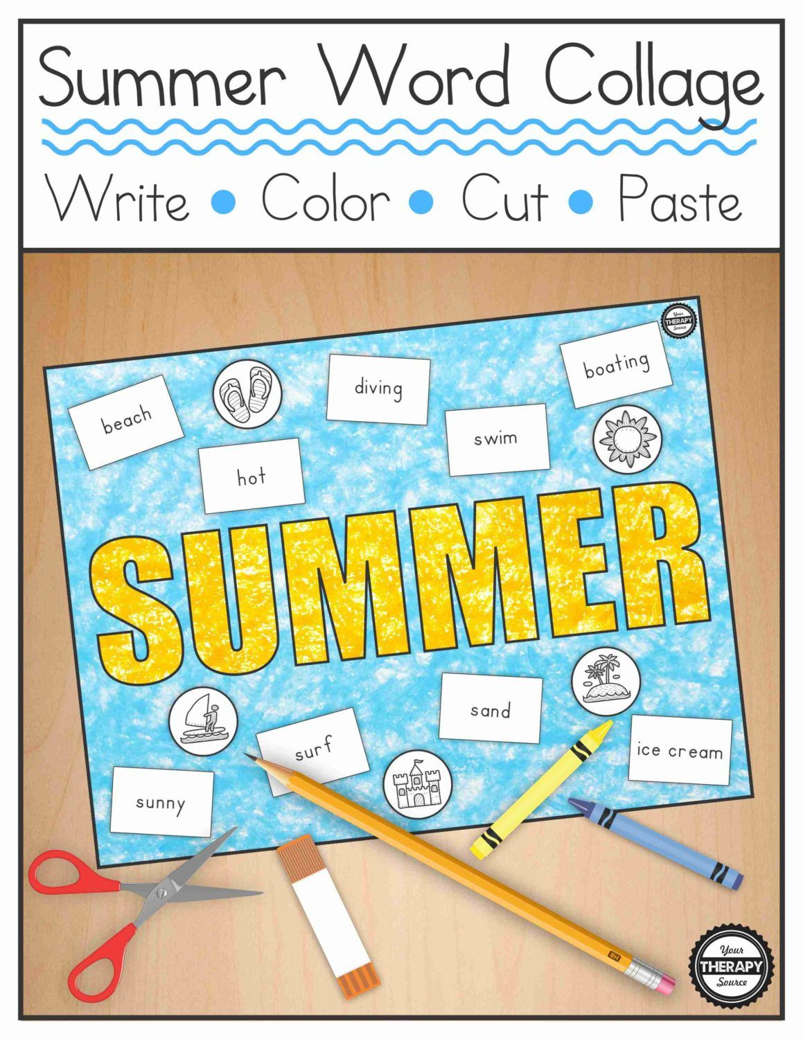 Summer Word Bank Collage - Black and White and Color   Writing skills
