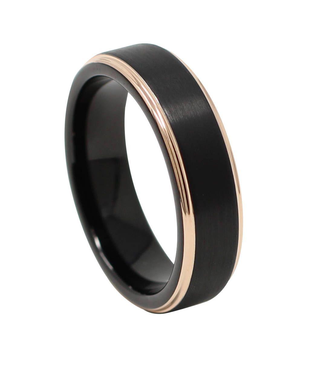 Rose Gold And Black 6mm Men S Tungsten Wedding Band Thin Etsy Mens Wedding Bands Tungsten Black Tungsten Rings Tungsten Wedding Bands