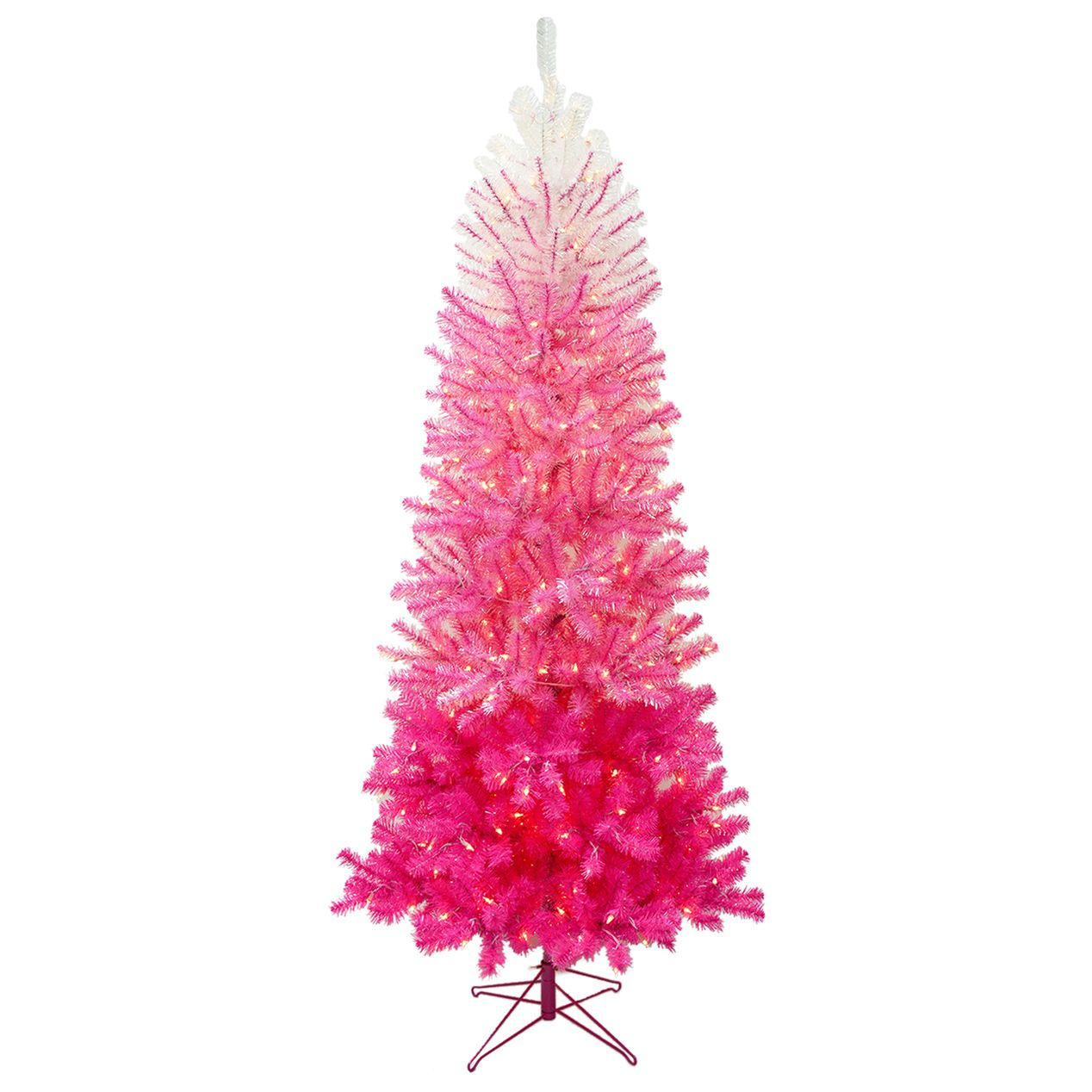 7 ft pre lit quinn pink ombre christmas tree with 350 clear lights - Pink Christmas Tree