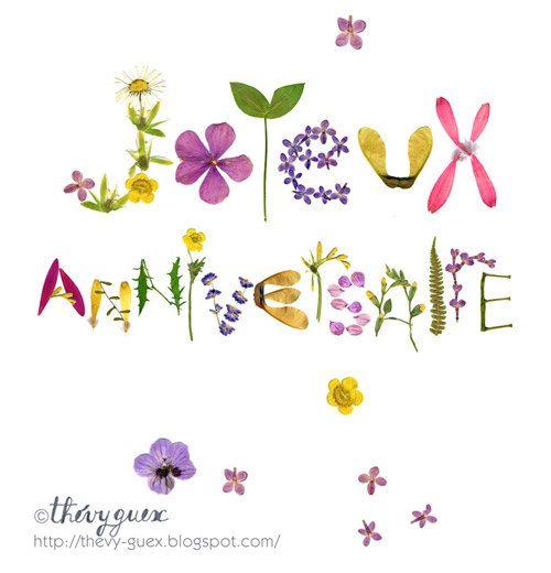 Happy Birthday herbarium pressed flower card, Flower lover