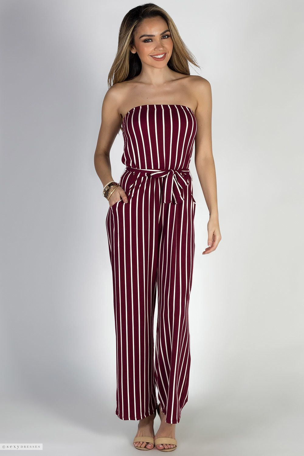 d43e6497e32 Belted Strapless Burgundy   White Striped Jersey Wide Leg Jumpsuit with  Pockets. Find this Pin and ...
