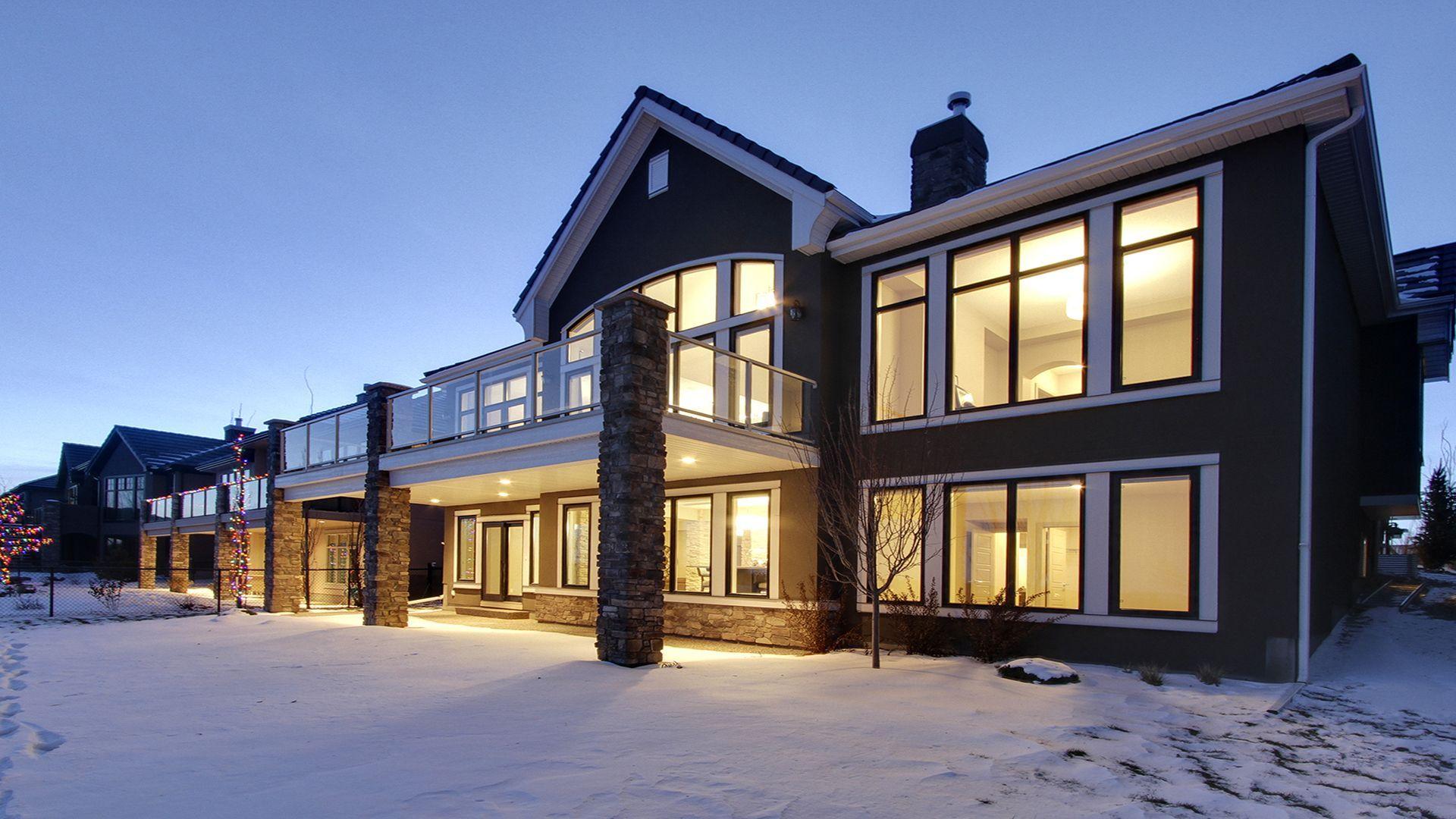 Calbridge - black window, white buildouts, white fascia & soffit and posts