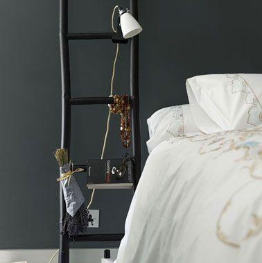 Chambre peinture noir, table de nuit échelle noir, lit blanc