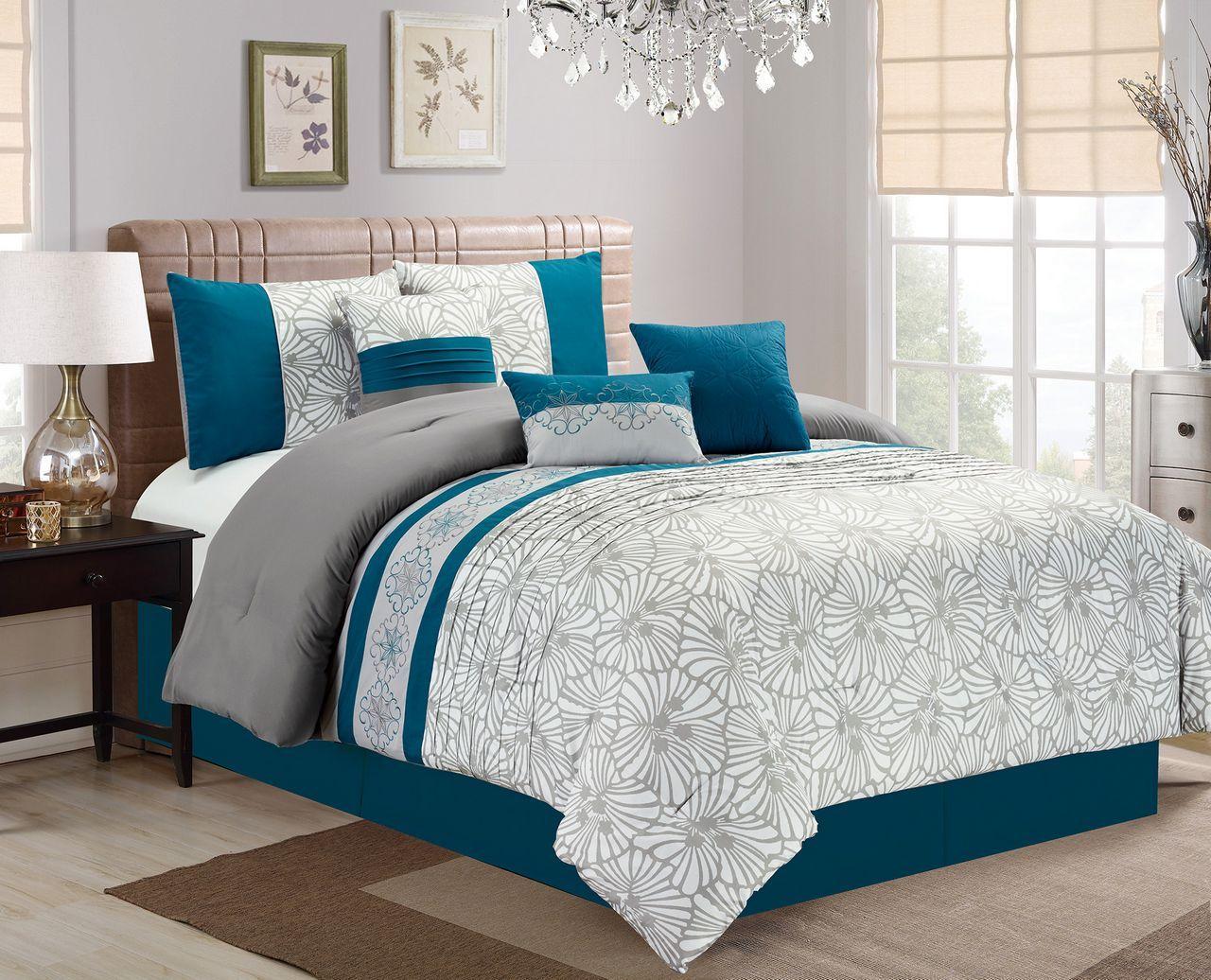 7 Piece Flora Print Teal/Gray/Ivory Comforter Set | Teal ...