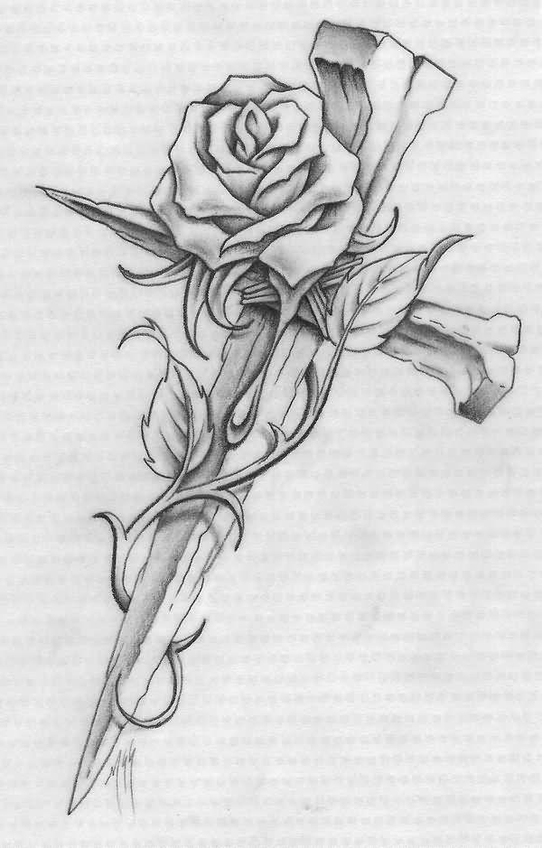 55e59c66f Nail Cross With Rose Tattoo Design | cross tattoos | Cross tattoo ...