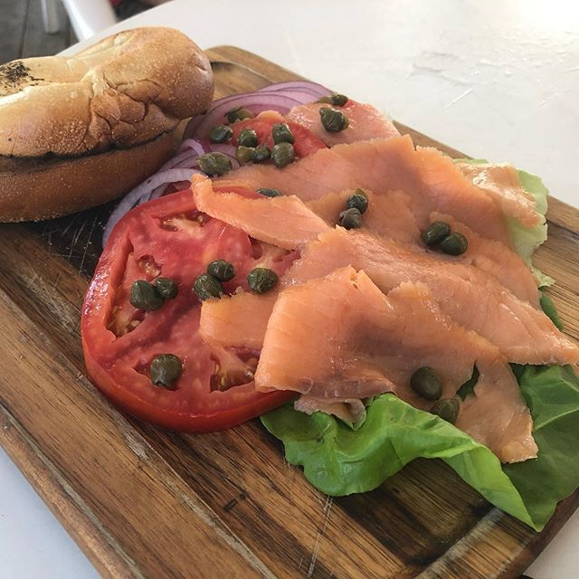 Simply Salmon platter from @bennysonthebeach Great dish. We would like to see it with some mashed  Simply Salmon platter from @bennysonthebeach Great dish. We would like to see it with some mashed avocado instead of cream cheese on the bagel. But still delicious. @scottiesnyder