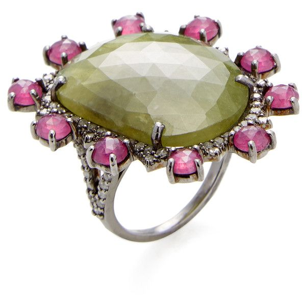 Azaara Fine Jewelry Sterling Silver Ring with Multicolored Sapphire,... ($750) ❤ liked on Polyvore featuring jewelry, rings, no color, wide band rings, champagne diamond ring, ruby ring, long rings and pandora jewelry