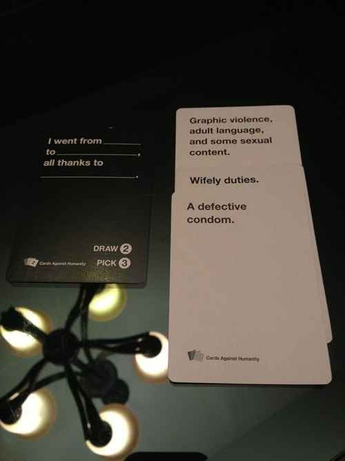 For all my Cards Against Humanity friends who aren't too uptight to enjoy this game here are 8 Well-Played Hands Of Cards Against Humanity