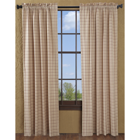 Tacoma Curtains Feature Open Style Plaid Fabric In Creme And Red