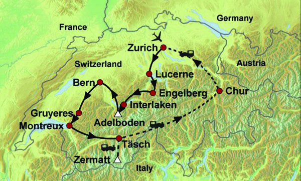 Image result for GLACIER EXPRESS PRIVATE LINE on a map visit