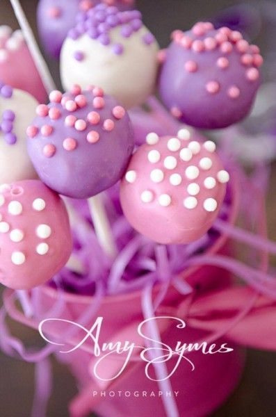 Pink Purple White Cake Pops 3 See More Cute Cake Pop Ideas At Www