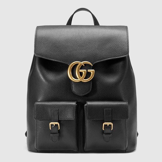 Le Sac à Dos Gucci Marmont En Cuir Noir Est Backpack Tendance Du Moment Leasyluxe