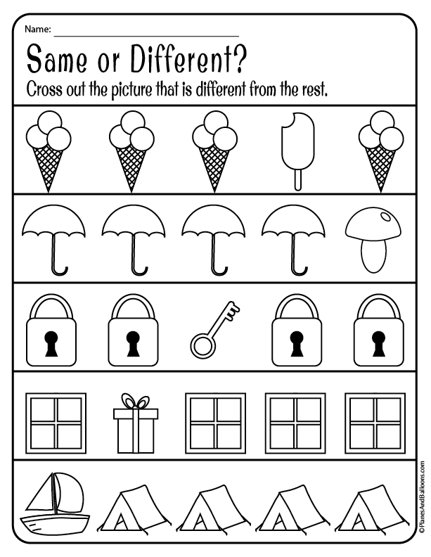 Same And Different Worksheets For Preschool FREE Download Preschool  Worksheets, Kids Math Worksheets, Printable Preschool Worksheets