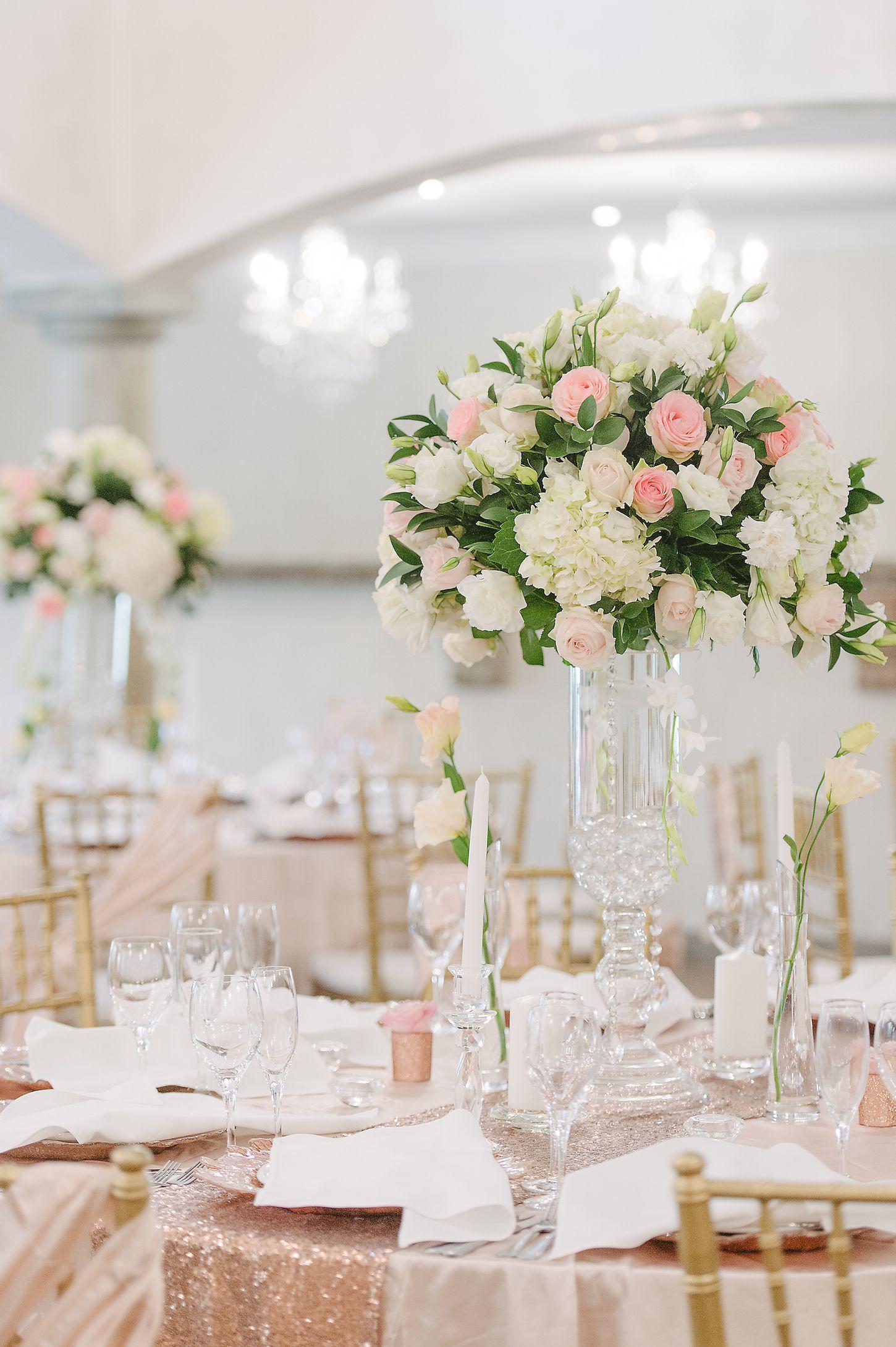 romantic and lush white and blush pink flower centerpieces using rh pinterest com Centerpiece Hydrangea Peoli Rose Blush Pink Flowers Blush Pink Hydrangea Wedding Bouquet