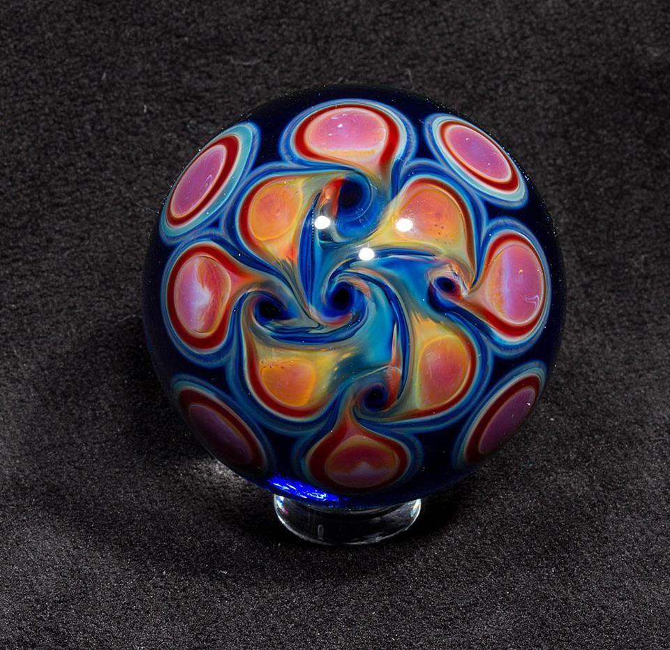 Andrew lazenby blue fumes bottom veiw glass art glass