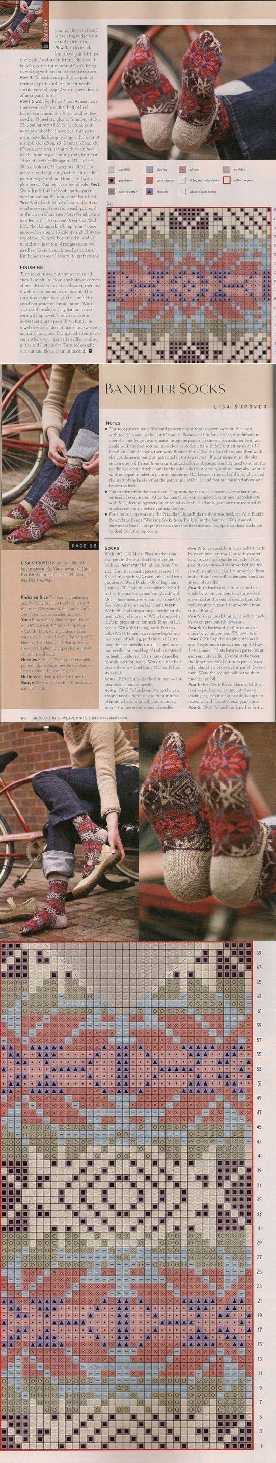 Жаккардовые носочки . | вязание(жаккард,вышивка) | Постила