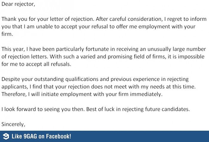 Epic Rejection Letter  Of WouldnT And I Want