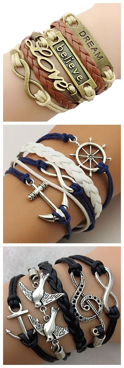 Cool leather bracelets. Love the designs?