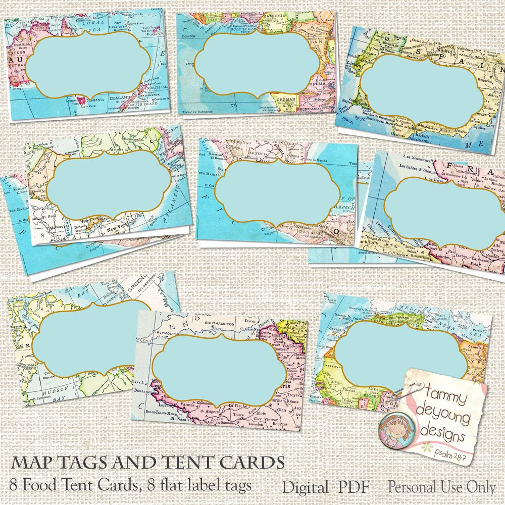 Map place cards world map tags tent labels digital buffet cards
