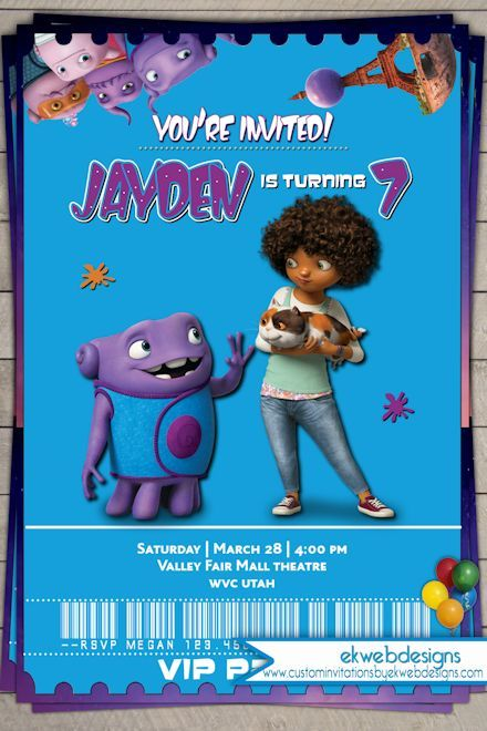 Dreamworks home movie themed birthday invitation printable party dreamworks home movie themed birthday invitation stopboris