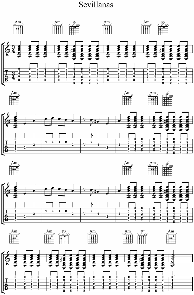 Sevillanas Flamenco Guitar Tab Gitara Pinterest Guitar