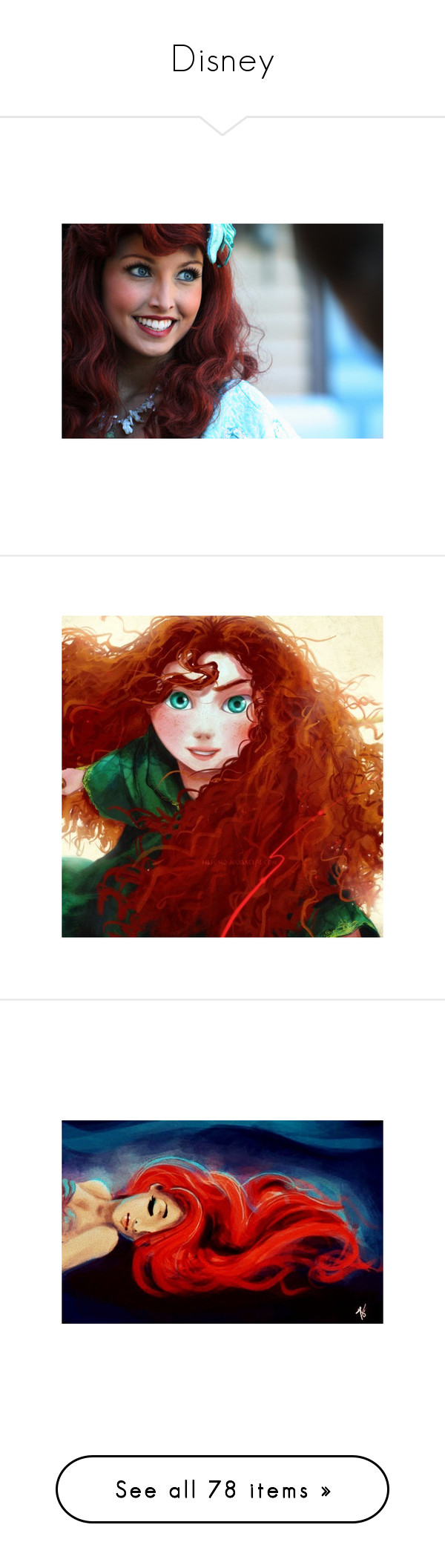 """""""Disney"""" by ukari ❤ liked on Polyvore featuring disney, pictures, people, ariel, the little mermaid, brave, merida, drawings, art and drawing"""