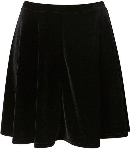 Black Velvet Skater Skirt - Lyst