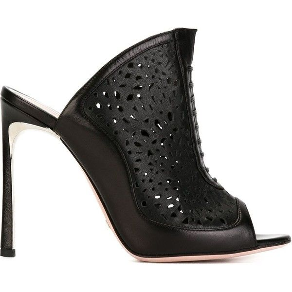 Sebastian Milano Laser-Cut Mules (£365) ❤ liked on Polyvore featuring shoes, black, leather mule shoes, leather shoes, real leather shoes, leather mules and kohl shoes