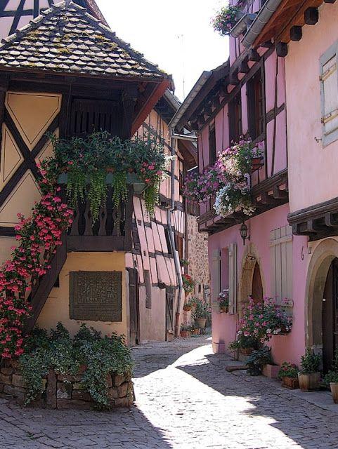 Medieval Village, Eguisheim, Alsace, France...