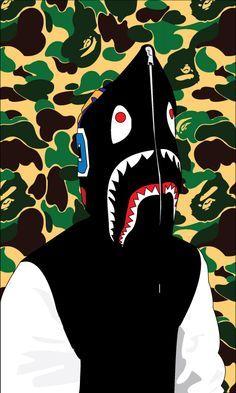 Bape Shark Bape Wallpapers Bape Hoodie Cartoon Art