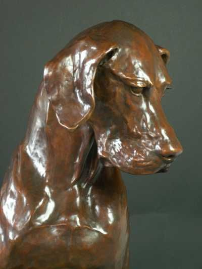 Bronze Garden Or Yard Outside And Outdoor Sculpture By Artist Gill Parker Led Life Size Great Dane Dog Sitting Thinking Sculptures