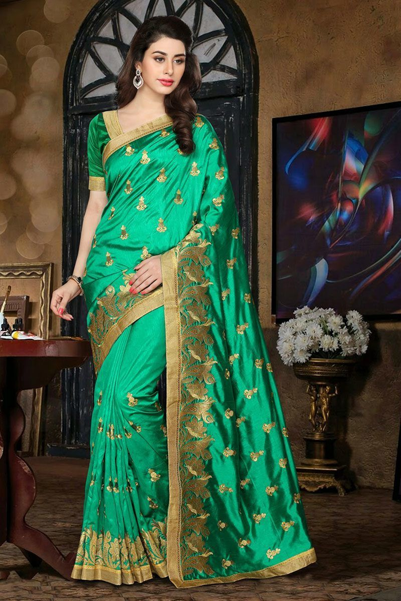 6aaba325bf green and golden color Embroidery work Partywear Silk saree Only Rs 1500