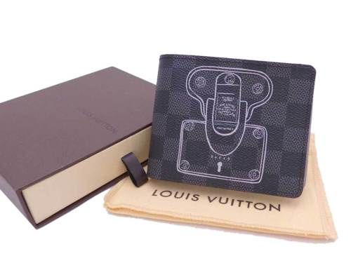 740806694db Auth-LOUIS-VUITTON-Damier-Graphite-Porte-Folio-Multiple-Wallet-UNUSED-e31923