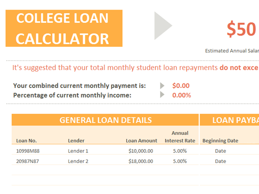 College Loan Calculator  Cool Stuff    College Loans