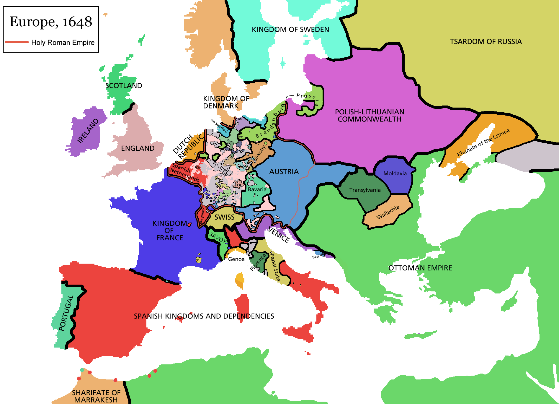MAP OF THIRTY YEARS WAR At The End Of The War In Viking - Map germany thirty years war