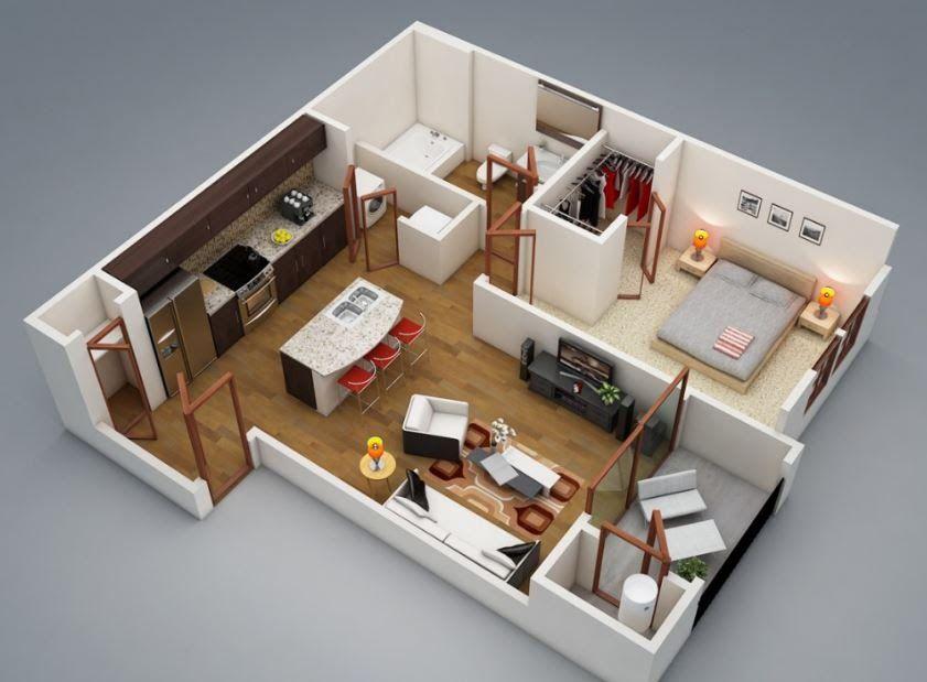 Planos de casas modernas de 1 dormitorio Guest suite Pinterest