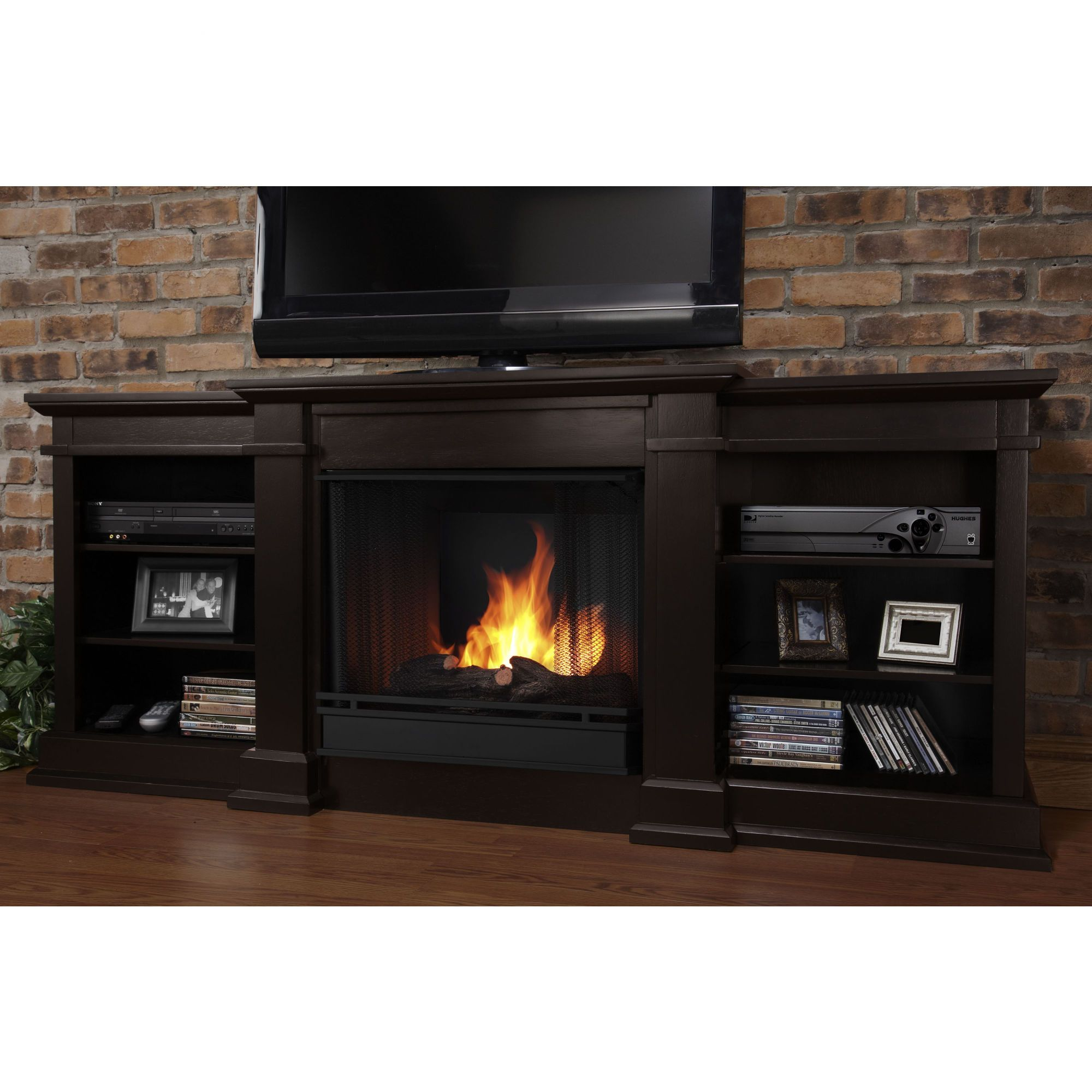 Real Flame Fresno 72 Tv Stand With Gel Fuel Fireplace Fireplace