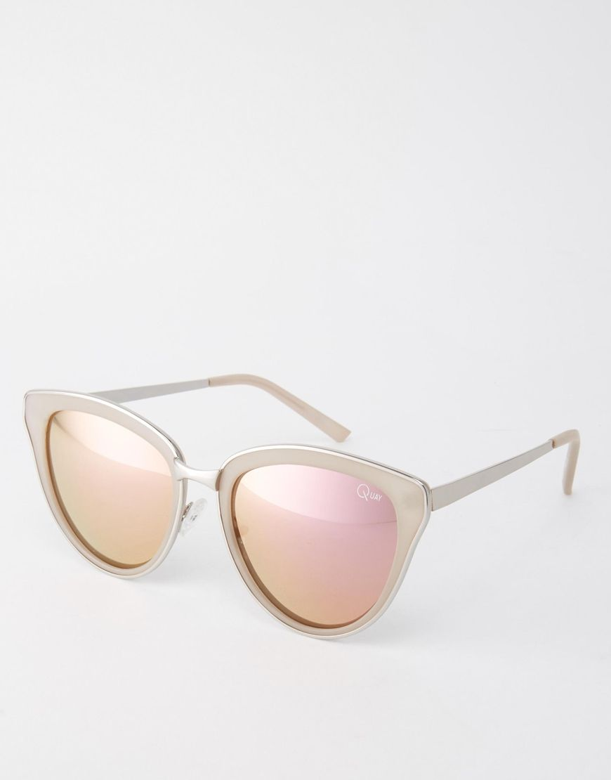 Quay Australia Every Little Thing Cat Eye Sunglasses with Pink Lens at asos.com